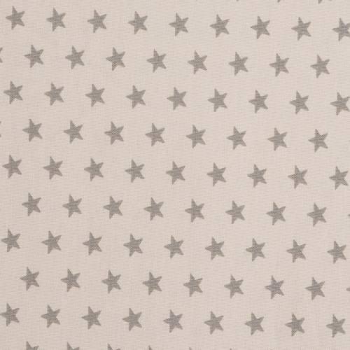 Coton beige imprimé étoiles taupes