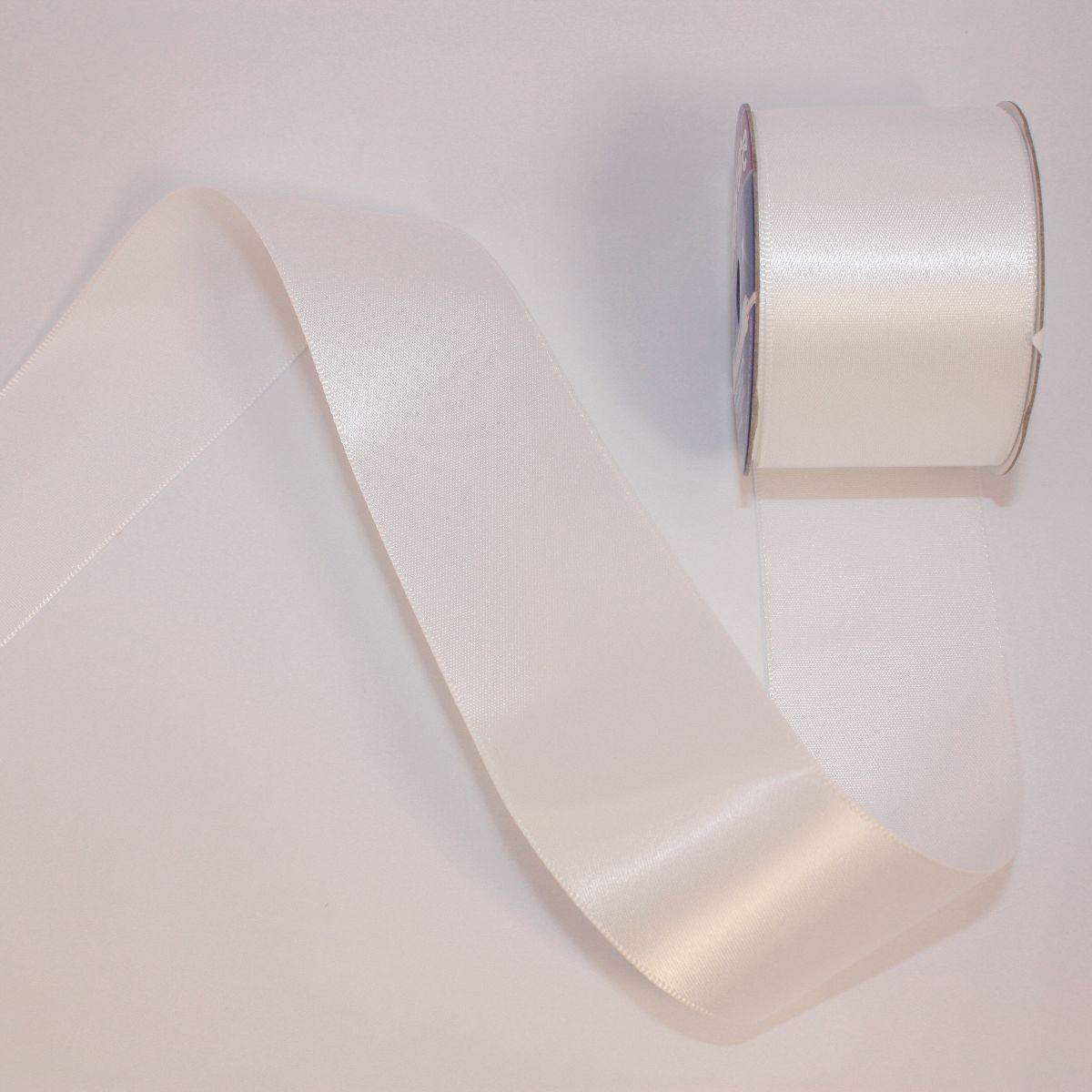 Ruban satin en bobine blanc 38 mm
