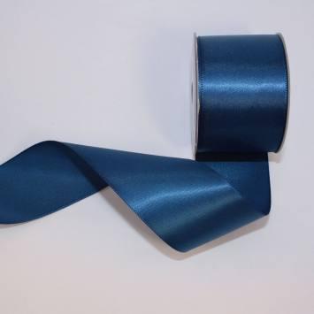 Ruban satin en bobine bleu foncé 38 mm