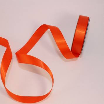 Ruban satin en bobine orange sanguine13 mm