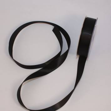 Ruban satin en bobine noir 13 mm