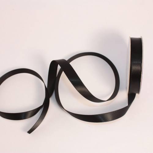 Ruban satin en bobine noir 9 mm
