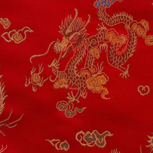 Satin asiatique rouge motifs dragons