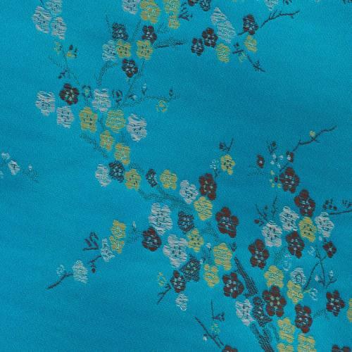 Satin asiatique turquoise à petites fleurs