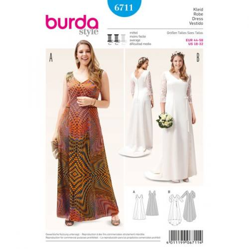Patron Burda 6711 : Robe 44-58