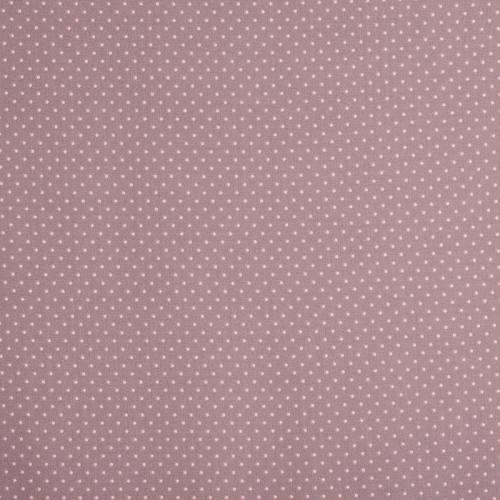 Coton taupe à petit pois 1mm rose pastel