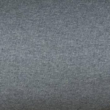 Tissu tubulaire bord-côte maille gris chiné
