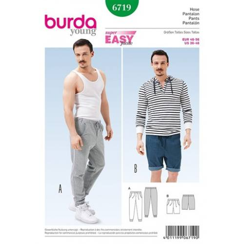 Patron Burda 6719 : Pantalon et bermuda 46-56