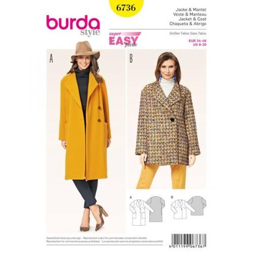 Patron Burda 6736 : Veste et manteau 34-46