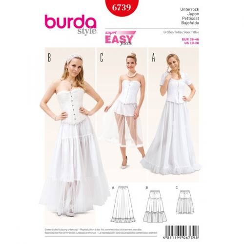 Patron Burda 6739 : Jupon 36-46