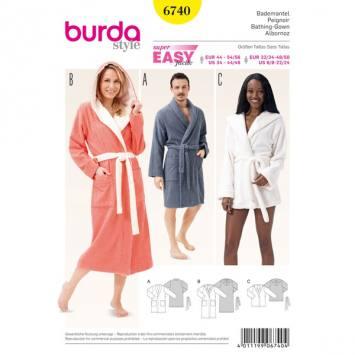 Patron Burda 6740 : Peignoir homme femme