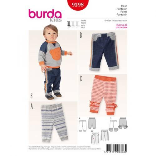 Patron Burda 9398 : Pantalons pour bébé Taille: 56-86cm