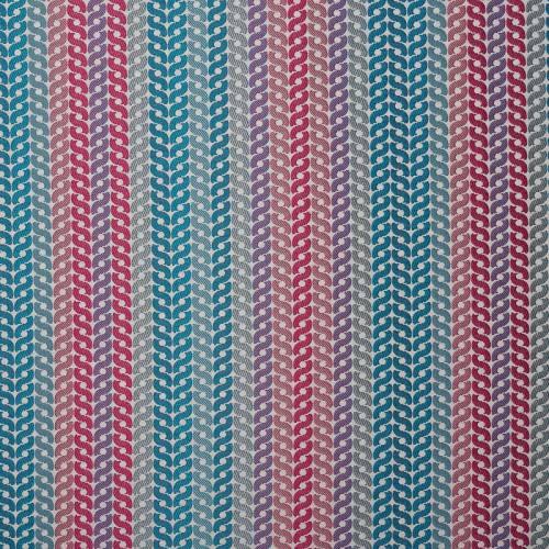 Jacquard tressé bleue, rose et gris clair