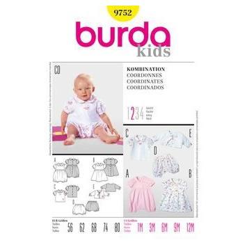 Patron Burda 9752: Coordonnés pour bébé Taille : 56cm-80cm
