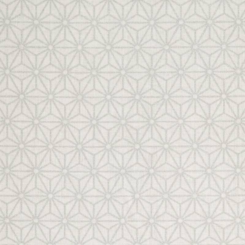 Coton blanc motif asanoha argenté