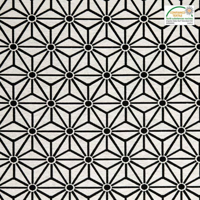 Jacquard blanc motif asanoha noir tissus price - Motif noir et blanc ...