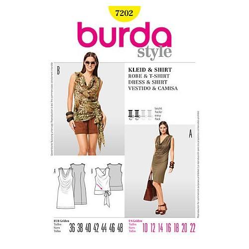Patron Burda 7202: Robe et Tee-shirt Taille : 36-48