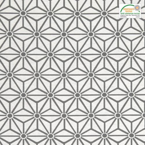 Jacquard blanc motif asanoha gris