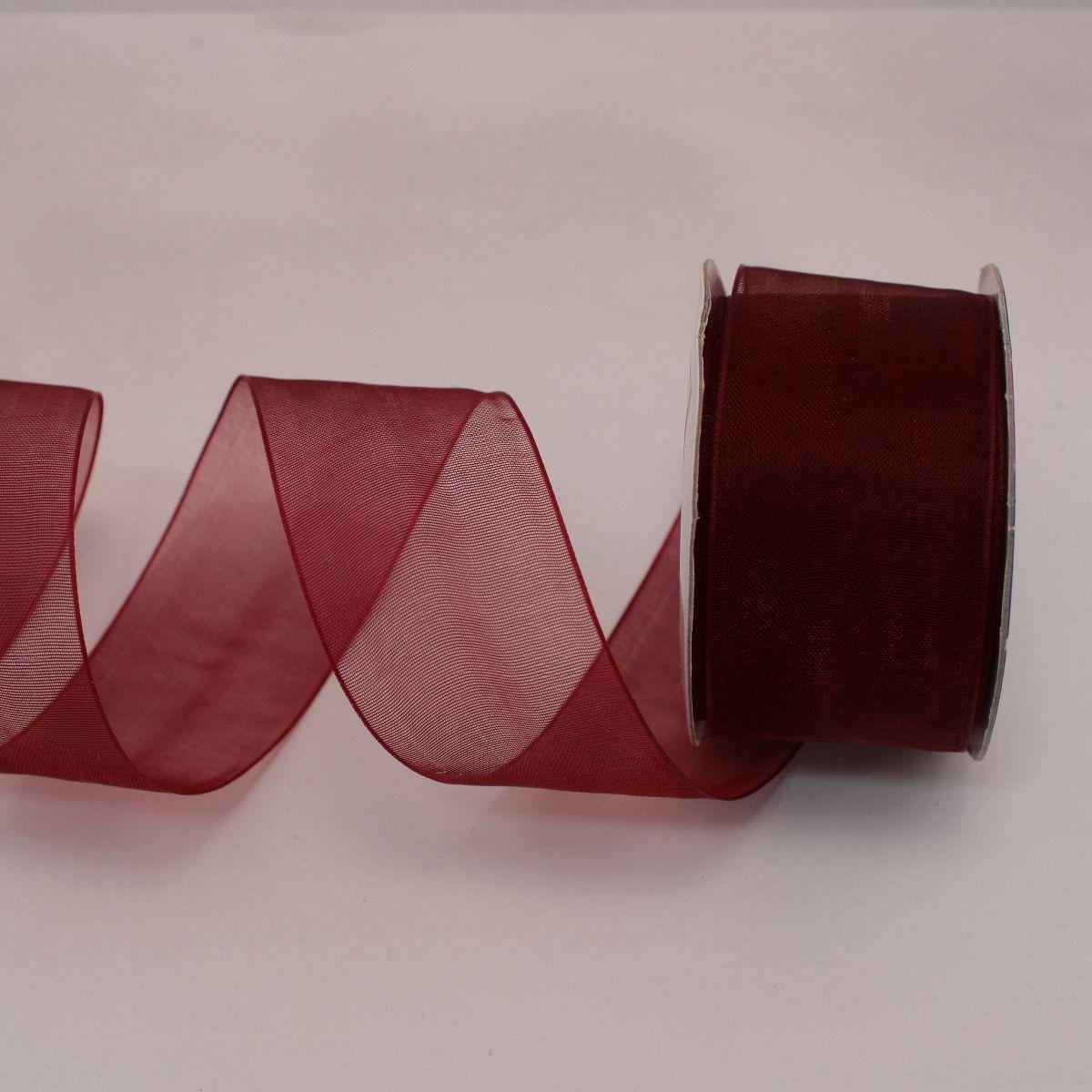 Ruban organdi en bobine bordeaux 32 mm