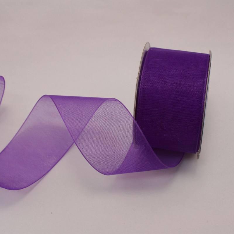 Ruban organdi en bobine violet 32 mm