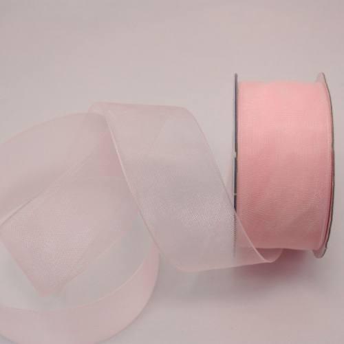 Ruban organdi en bobine vieux rose 25 mm
