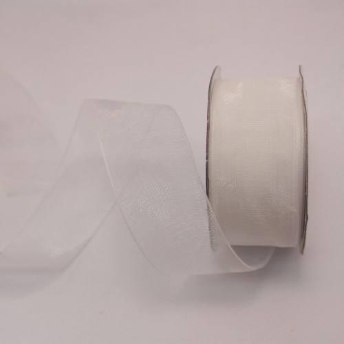 Ruban organdi en bobine blanc 25 mm