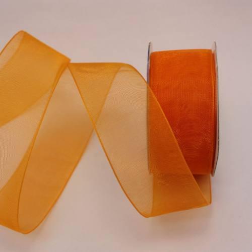 Ruban organdi en bobine abricot 25 mm