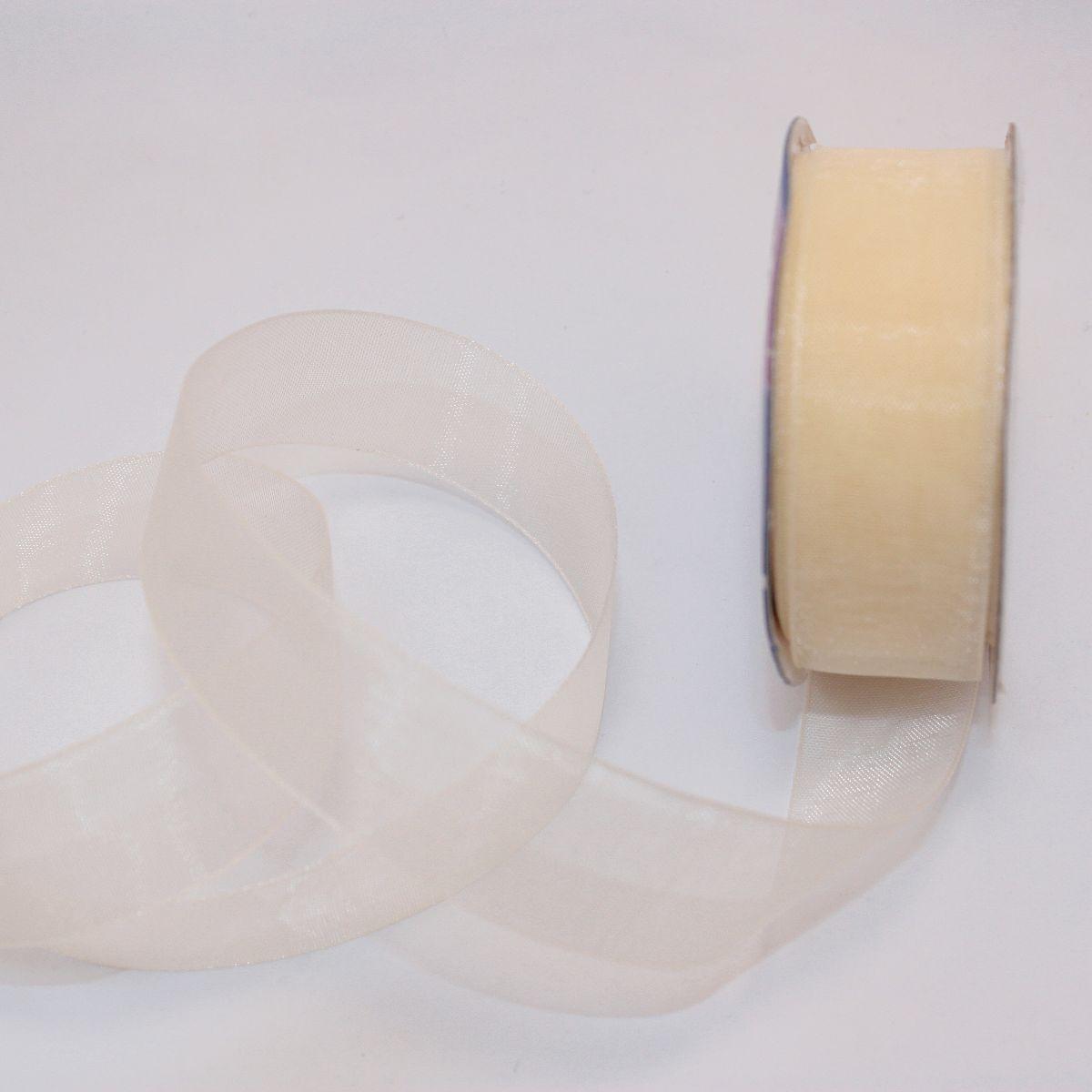 Ruban organdi en bobine crème 20 mm