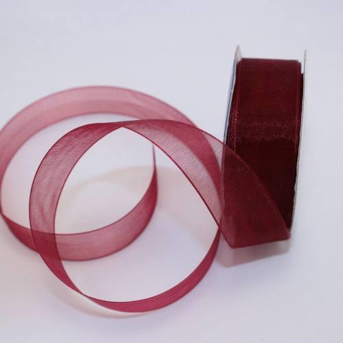 Ruban organdi en bobine bordeaux 20 mm