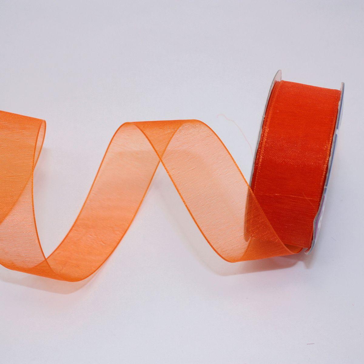 Ruban organdi en bobine orange sanguine 20 mm