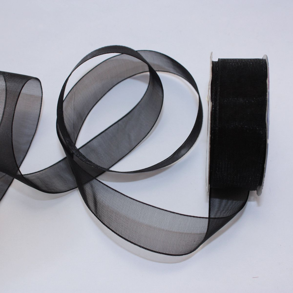 Ruban organdi en bobine noir 20 mm