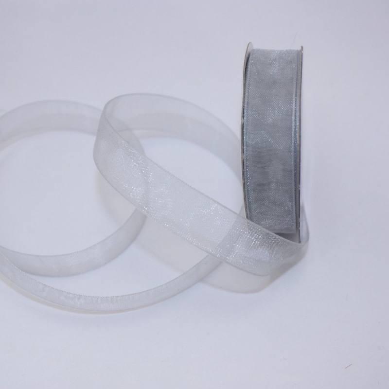 Ruban organdi en bobine argent 12 mm