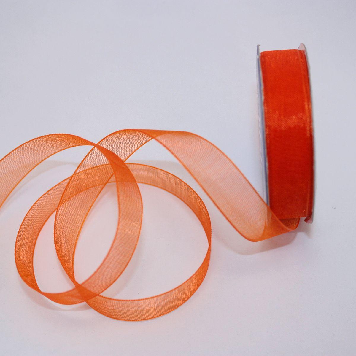 Ruban organdi en bobine orange sanguine 12 mm