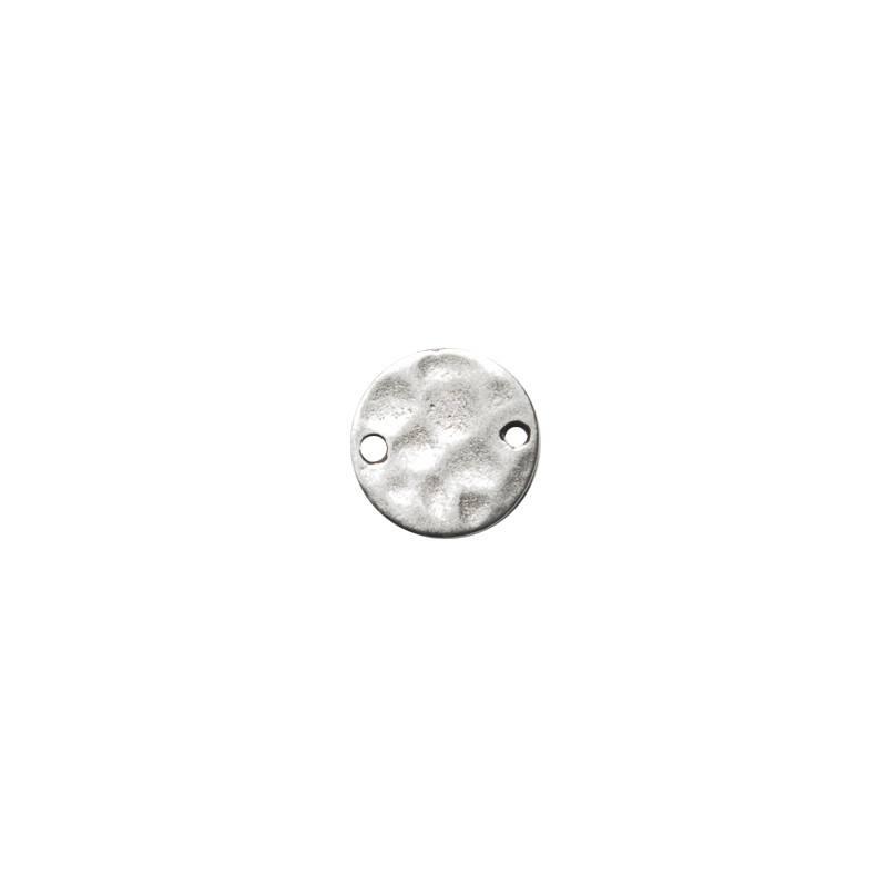 Pampille métal argent martelé avec 2 trous