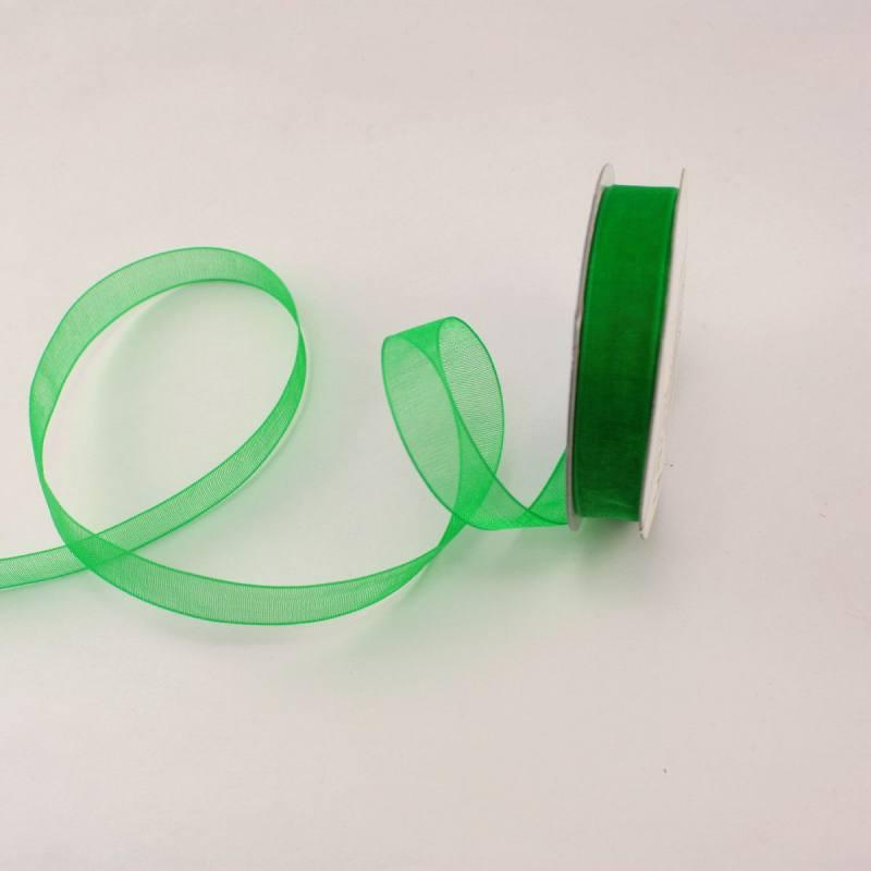 Ruban organdi en bobine vert foncé 9 mm