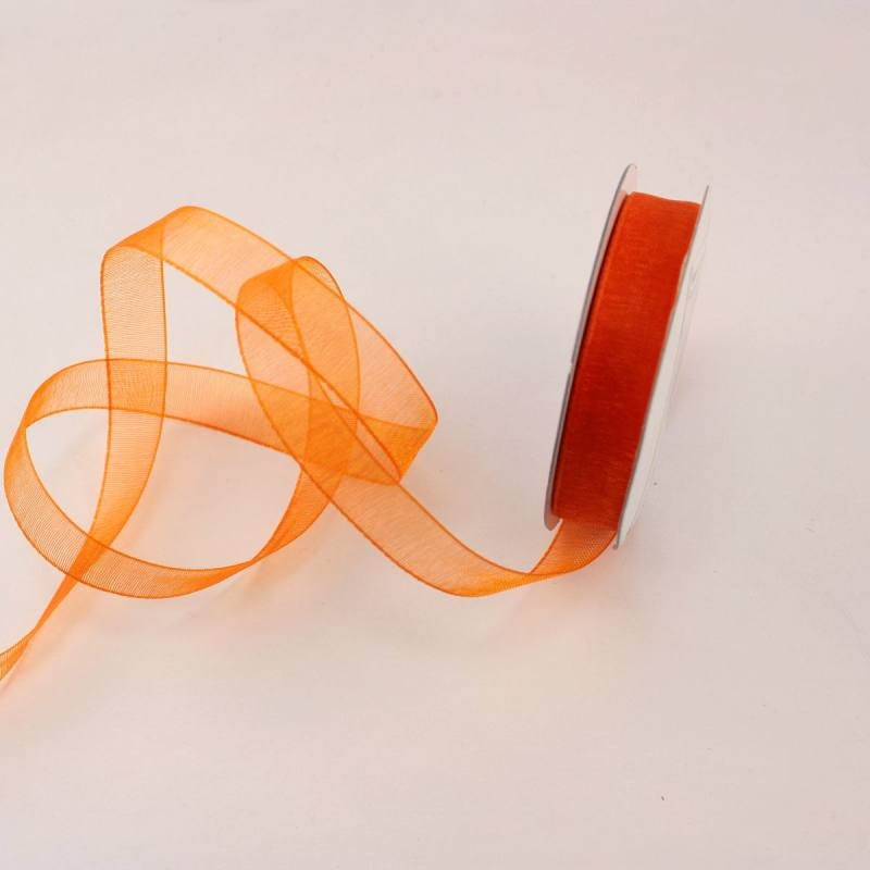 Ruban organdi en bobine orange sanguine 9 mm