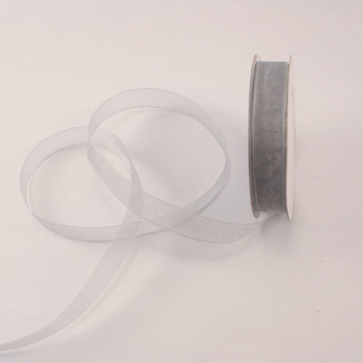 Ruban organdi en bobine argent 9 mm