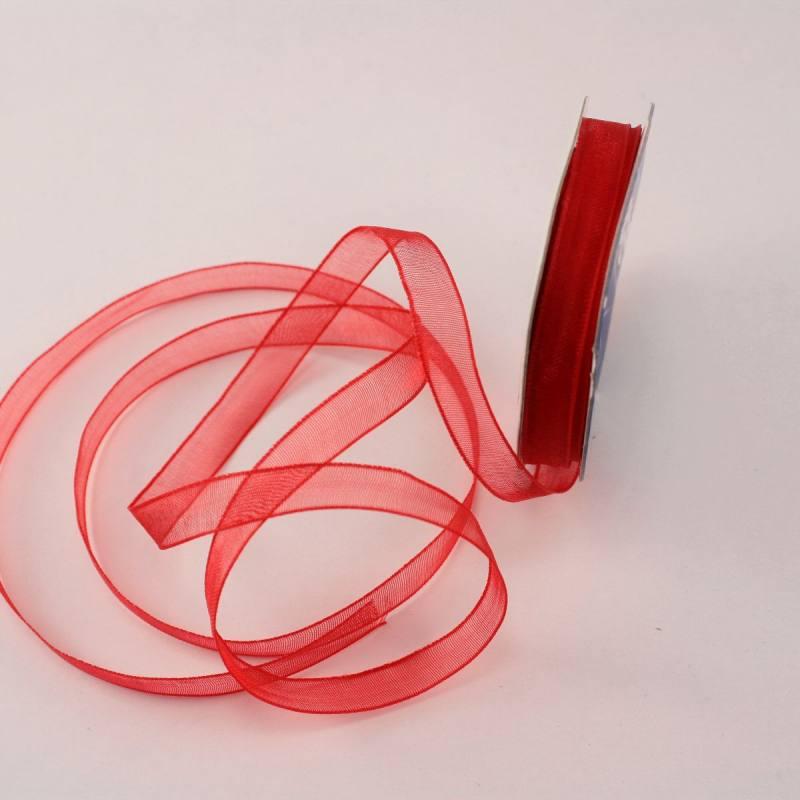 Ruban organdi en bobine rouge 6 mm