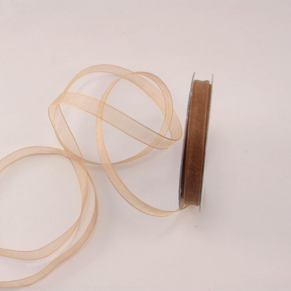 Ruban organdi en bobine marron 6 mm