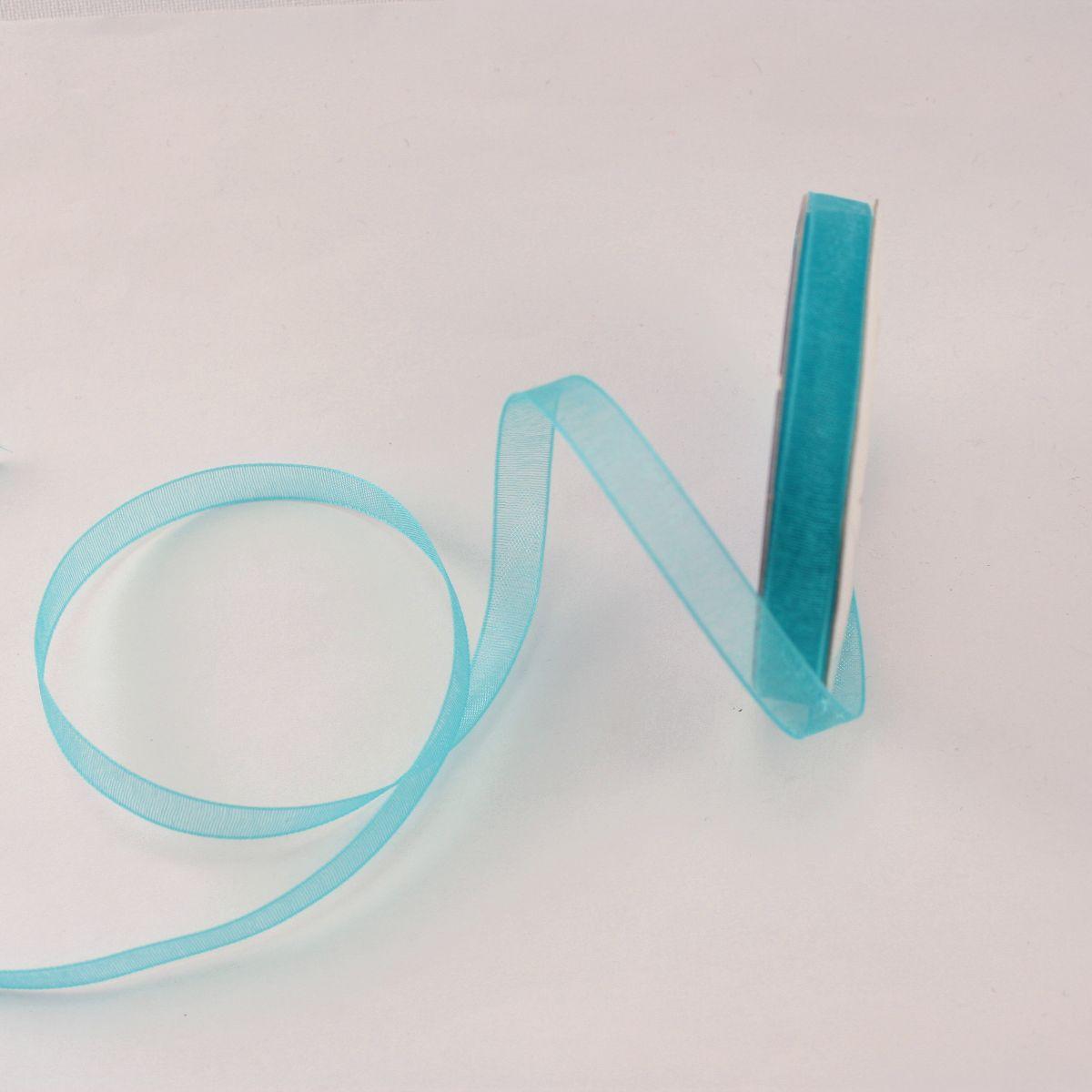 Ruban organdi en bobine bleu aqua 6 mm