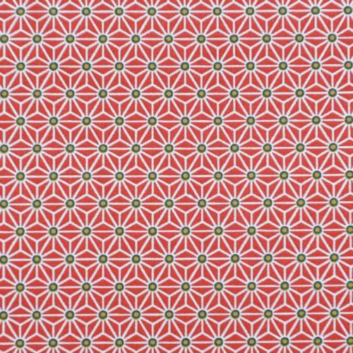 Coton rouge petit motif asanoha