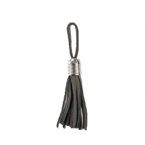 Pompon franges suédine gris 5.5cm