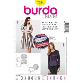 Patron Burda N°7034 Style : Robe et blouse Taille : 34 à 44