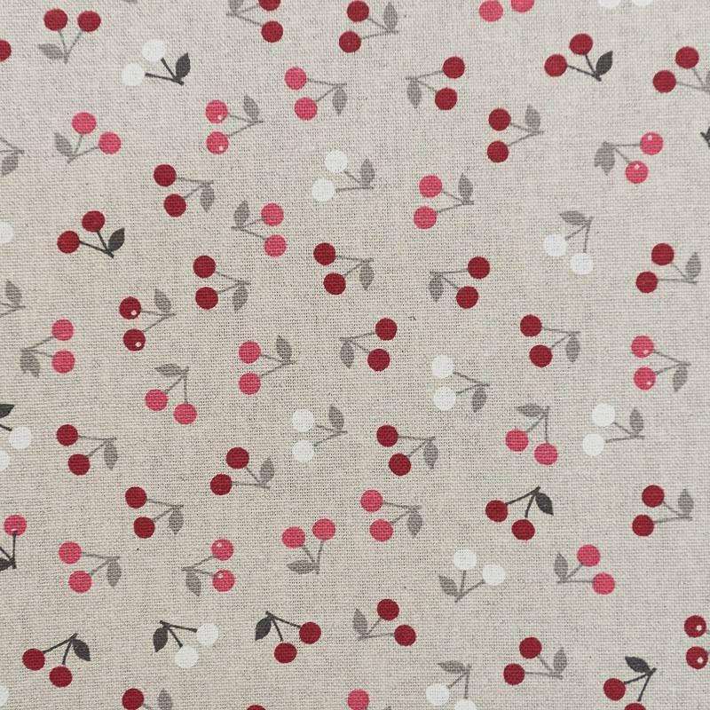 toile coton grise cerises tissus price