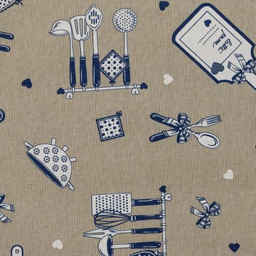 Coton enduit love cuisine bleu
