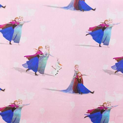 Coton rose Disney La Reine des Neiges Elsa et Anna