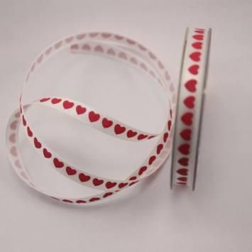 Ruban satin petits coeurs rouge en bobine 6 mm