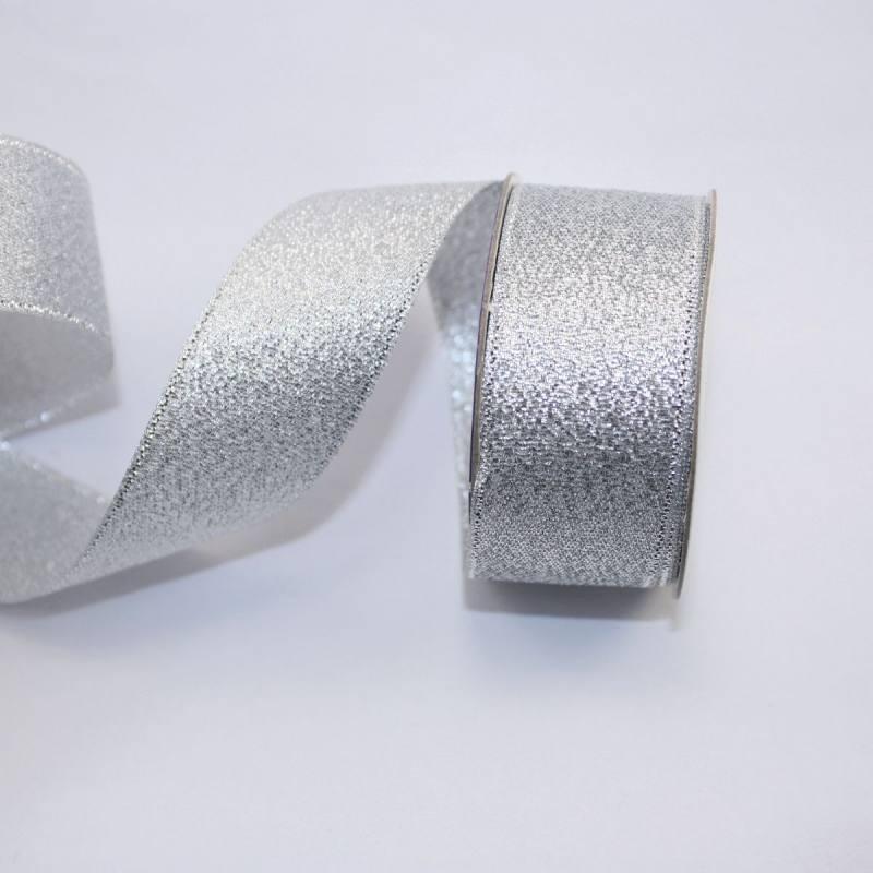 Ruban fantaisie en bobine argenté 26 mm