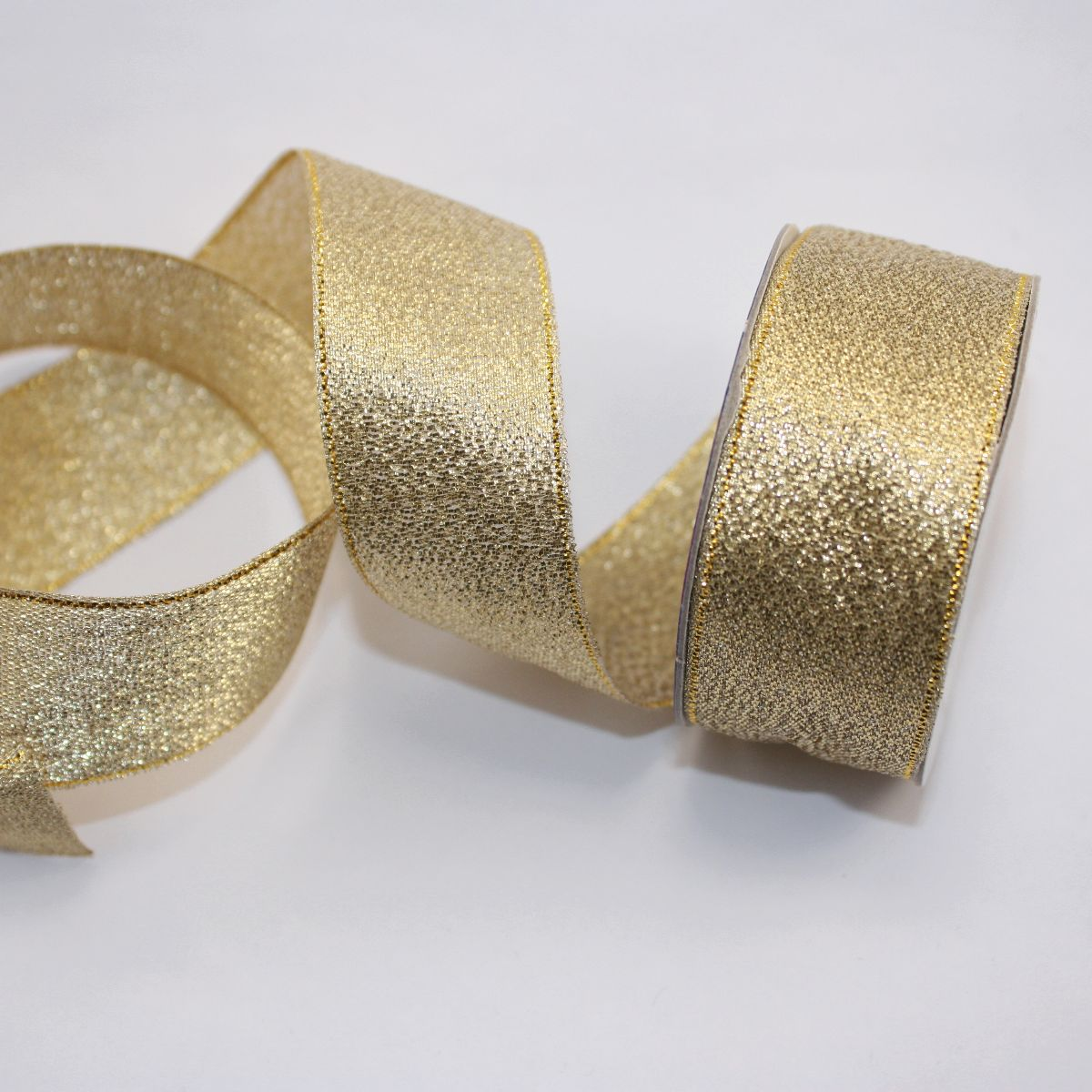 Ruban fantaisie en bobine doré 26 mm