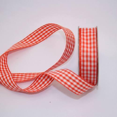 Ruban vichy en bobine orange 15 mm